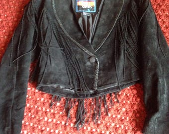 Cripple Creek Black Suede Fringe Jacket!!