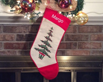Gardner's potted Christmas Tree with berries, Personalized Christmas Stockings, Needlepoint Christmas Stockings, Family Christmas stockings