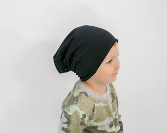 Black slouch hat / Organic beanie for men / Beanie hat / Baby Beanies / Slouchy bamboo beanie / Baby hat / Women's slouchy beanie / Black