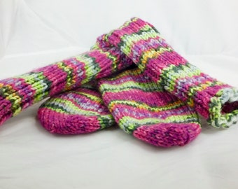 Peppermint Stick, Women's Size US 7, Hand Knit, Washable, Women's Wool Boot Sock, Hiking/Skiing/Ice Skating, Socks, Socks and Hosiery
