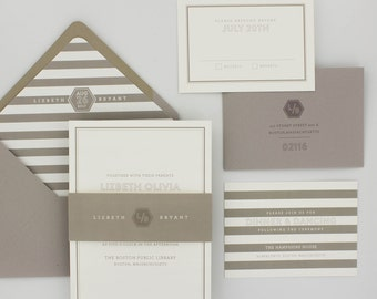 Modern Stripes Wedding Invitations Suite, Elegant, Urban Chic Wedding Invitation - Revere Wedding Invitations | Sample
