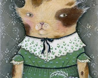 """SALE MarmeeCraft folk cat art print, """"Rhiannon's Flowers"""" SALE"""