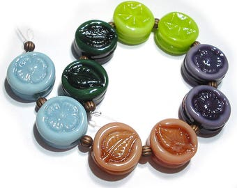 SRA Handmade Glass Lampwork Beads, Patterned Cool Colors Tabs