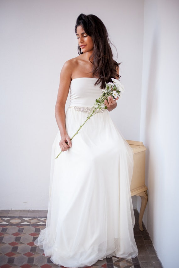 Tulle wedding dress Two piece tulle dress and crystal sash