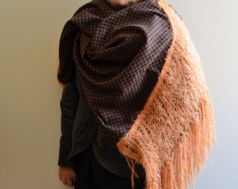 Wool shawl with mohair fringe - Mohair wool scarf - Handmade knit shawl - Blanket scarf- Hand knit shawl - Oversized wool scarf - Wool wrap