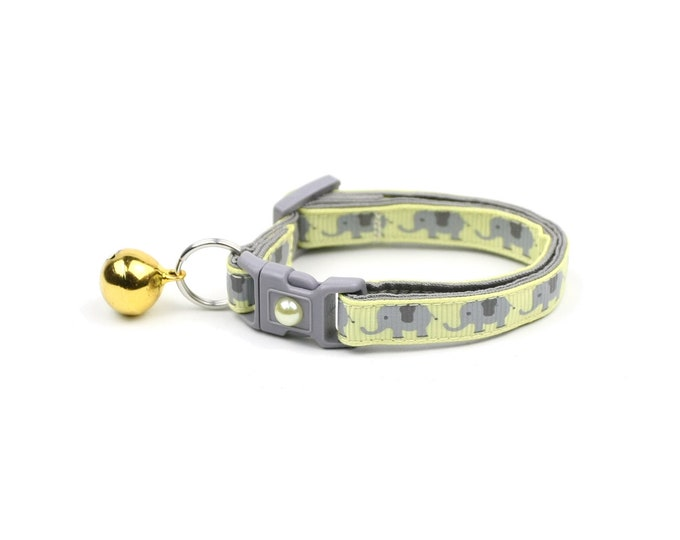 Elephant Cat Collar - Elephants on Yellow - Small Cat / Kitten Size or Large Size