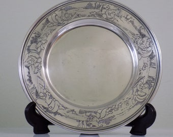 """Sterling Silver """"Snow White And The Seven Dwarfs"""" Plate By R. Blackinton Co."""