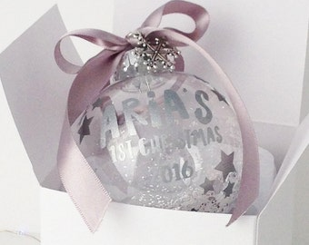 Babys First Christmas Personalised Bauble, 7 Colours, Personalised Baubles, Babys Keepsake Gift, Christmas Tree Decoration