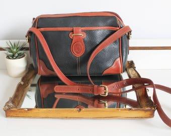 Vintage Liz Claiborne Black Tan Leather Two Tone Across Body Messenger Satchel Saddle Bag Purse Clutch