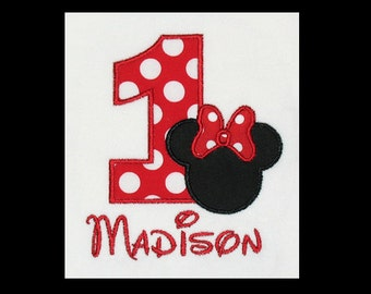 Custom Personalized Applique Birthday Number MINNIE MOUSE and NAME Shirt or Bodysuit - Red Ta Dots and Black