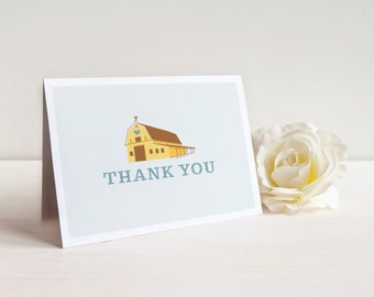 Wedding Thank You Card, Barn Thank You Card, Folded Thank You Card, Printable Thank You, Printed Thank You Cards, Country, Rustic, Folksy