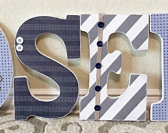 Custom Baby Boy Name, Wooden Wall Letters, Navy Blue and Grey, Boy Nursery Decor, Personalized Baby Gift, Wall Hanging,  The Rugged Pearl
