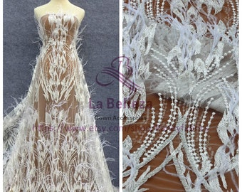 "Off white handmade beading feather sequins wedding dress lace fabric 51"" width"