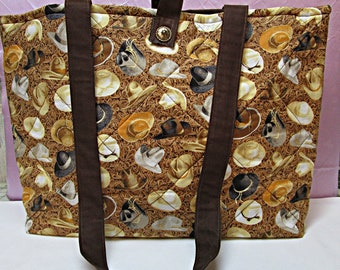 TOTE BAG. western tote bag, horse lover, cowboy hats, gift, overnight bag,western accessory, western theme