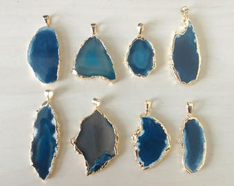 Electroplated deep blue agate slice pendant - Agate slice - Gemstone slice pendant - Blue gemstone slice [GP001]