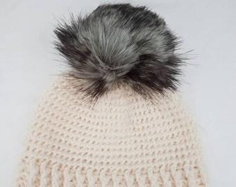 Cream beanie with grey mix faux fur pompom