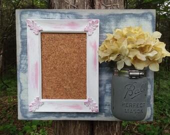 Message Board & Mason Jar Set in Distressed Pink and Gray, Cork Board Message Center, Framed Bulletin Board, Mason Jar, Farmhouse Organizer