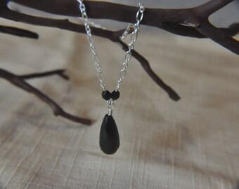 Black glass briolette pendant on silver chain