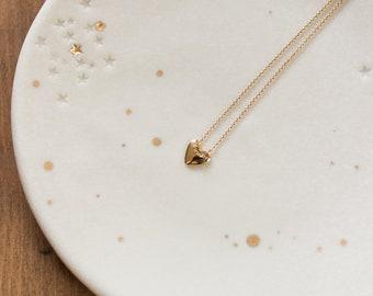 Collier mini coeur doré à l'or fin et pierre