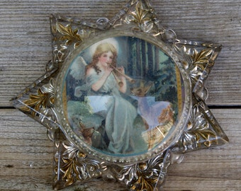 Victorian Goofus Star Mourning Maginifying Glass Paperweight with Gold Inlay
