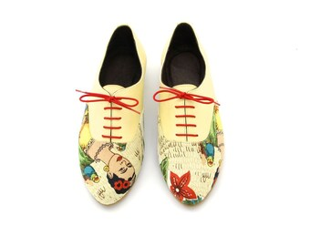 Handmade women's Oxford shoes. Yellow and Frida Kahlo print Flat shoes. VEGAN or leather versions // FREE SHIPPING