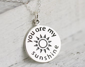 You Are My Sunshine Necklace - Sterling Silver You Are My Sunshine Charm Necklace - You Are My Sunshine Pendant Sun Charm Sunshine Jewelry