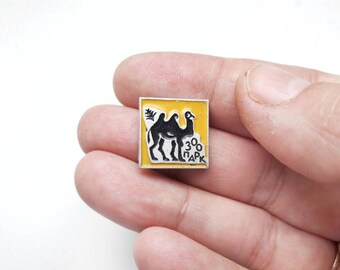 Vintage Soviet Pin Brooch with Camel in Yellow and Black USSR 80's