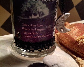 SISTER of the MOON , candle votive, candleholder, tea light holder, gypsy, Stevie Nicks, photo art, music art, Rhiannon, Moon Goddess, decor