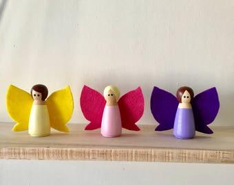 Fairy Peg Doll Set, Pegdoll Fairy, Girl Peg Doll, Fairy Garden, Fairy Play, Fairy Doll, Peg Doll Set, Little Pixie Peg Doll, Peg Doll Play