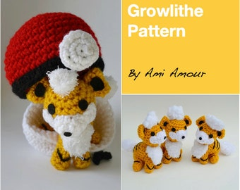 Growlithe pattern amigurumi crochet Pokemon PDF