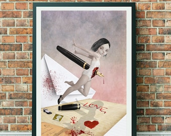 Big Eyed Girl | Pop Surrealism Art | Big Eyes Art | Big Eye Art | A3 Art Print | Wall art | Written In Blood