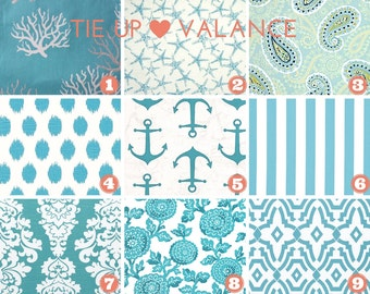 Tie-up Valance - Faux Roman Shade -  Butterfly Valance - Topper - Coastal Blue Fabric - Nautical - Starfish - Blue - Mums - Canopy Stripe