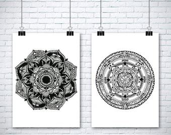 """2 Original Drawings - Mandala - 12x17""""  Art Print, Wall Decor, Illustration"""