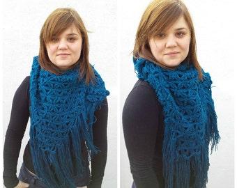 Turquoise triangular wool crocheted scarf, triangle scarf, wool triangle scarf, crocheted triangle scarf, turquoise scarf, knit wool wrap