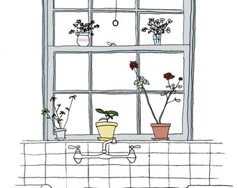 Plants on a Sill print. Kitchen Window Art.