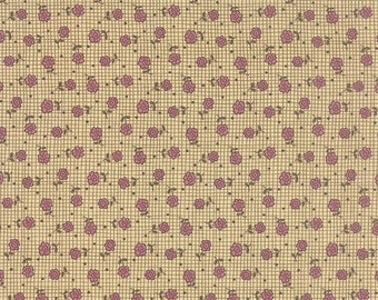 40% OFF SALE - PRINTS Charming Floral Roses Rosebud Plaid Berry Lavender  17843-13 - Moda Fabrics  - By the Yard