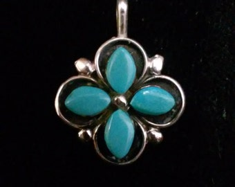 Zuni T&NN Sterling Silver And Turquoise Pendant