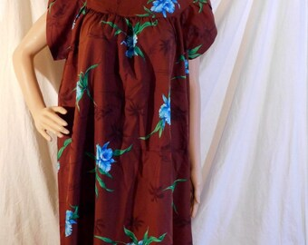 Vintage Hawaiian Print Muumuu Brown Dress Turquoise Floral Print Flutter Sleeves Tropical Print Dress