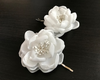 Bridesmaid Hair Pins - Wedding Accessories - Flower Girl -  Bridal Mini Hair Flower Bobby Pins - Little Sarah