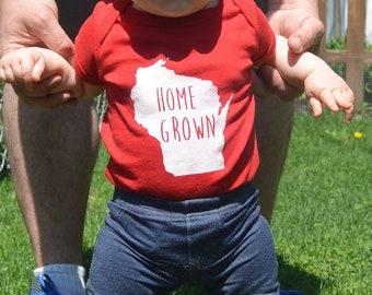 Wisconsin Home Grown baby bodysuits
