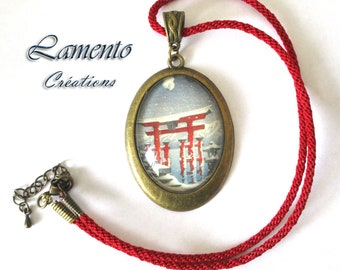 Cabochon necklace Japan torii, cord kumihimo necklace Japanese print, jewel cabochon, Japanese jewelry, necklace Japan