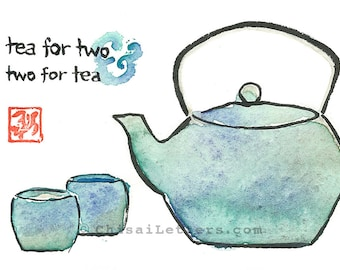 Tea for Two Original Watercolor & Ink Painting