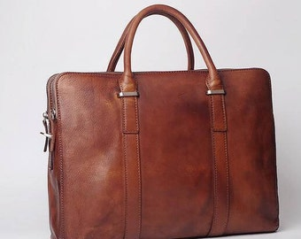 Brown Leather Briefcase, Mens Leather Briefcase, 14 inch Laptop Bag, Handbag, Shoulder Bag, Mens Briefcase, Laptop Tote, Leather Tote