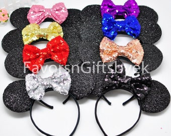 Minnie Ears Sparkly Minnie Mouse Ears Minnie Headband Bows Sparkle Ears Minnie Party