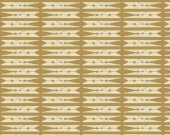 Wash Day - Tan Clothespin Fabric - by Studio e Fabrics - By The Half Yard - 100% Cotton - primitive fabric