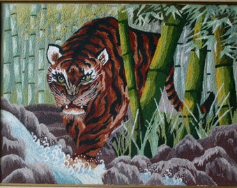 Vintage Embroidered Tiger Picture All Embroidery in Gold Frame Vintage 60s Hand Made Vintage From Nowvintage on Etsy