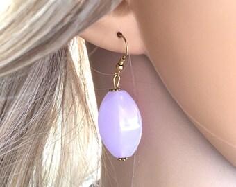 Purple Beaded Earrings, Statement pierced Jewelry, 2 Inch Drop earrings, lavender earrings, light purple jewelry, gold earrings