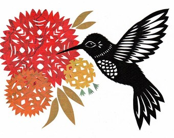 Hummingbird Song - 5 x 7 inch Cut Paper Art Print