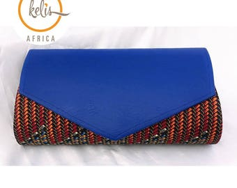 Ankara bag/african print clutch with faux leather/ankara clutch/ African Print Bag
