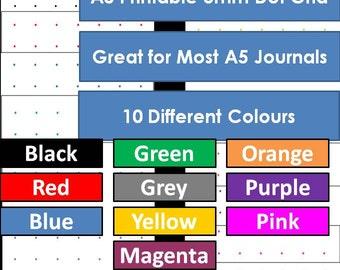 A5 Dot Grid Printable 10 Colors